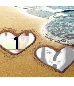 Collage of love with two hearts marked on the sand at the beach