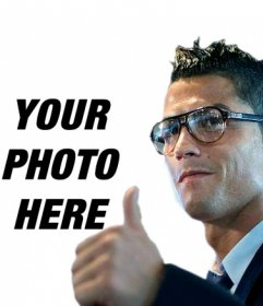 Photomontage in which you can put in your photo Cristiano Ronaldo making the OK sign.