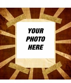 Photomontage. Your photo appears in a picture frame polaroid style stuck with zeal in a lightning shaped bottom manga comic style.