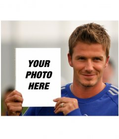 Photo montage to go on the cover of the book of David Beckham, who shows himself in the squad photo.