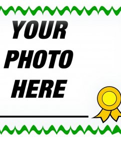 Decorative frame for pictures with a design of a diploma