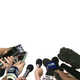 Photomontage of television interview microphones with your photo