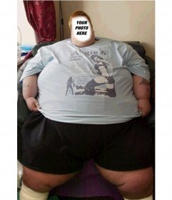 Photomontage to put the picture of your choice in the face of this man obese