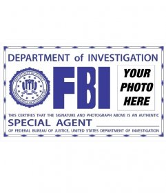Photomontage of FBI card. Surprise your friends by putting your picture!