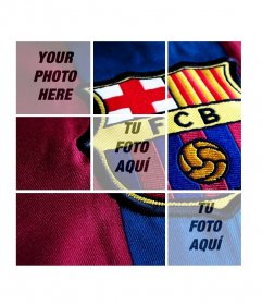 Collage with FC Barcelona badge that you can personalize with 3 photos.