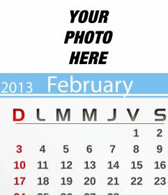 February 2013 Calendar personalized with your photo