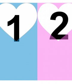 Effect for two photos and add them in a pink and blue filter with hearts