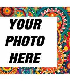 Frame with colorful and ethnic details to decorate your photos for free