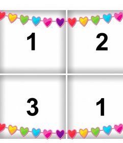 Online collage with colored hearts to upload four photos for free