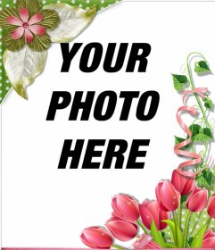Decorative frame with beautiful roses and flowers for your photos