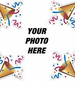 Editable frame  to celebrate with confetti and your photo