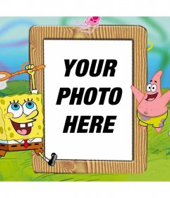 Upload your photo to this customizable frame with SpongeBob and Patrick