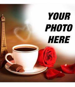 Photo effect of love with the Eiffel Tower of Paris and a coffee