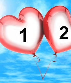 Photo effect for two photos of two heart-shaped balloons