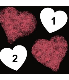 Photo effect with two hearts stained where you can upload two pictures
