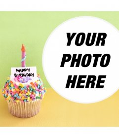 Photo effect with a birthday cupcake for your photo