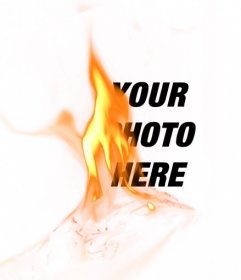Photomontage with a filter with a yellow flame of fire to put up your photos and create incredible effects