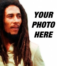 Create a photomontage with Bob Marley by your side loading an image online and adding a phrase free