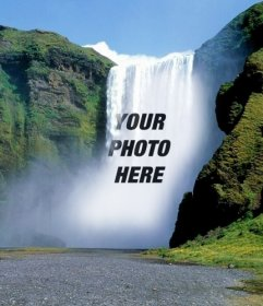 Photomontage with a waterfall in the middle of a green mountain to put a picture online for free