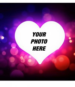 Decorative frame with a heart of love and lights to your photo