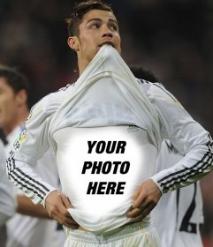 Create photo collages with Cristiano Ronaldo and upload a picture that appears in the Real Madrid football players shirt.