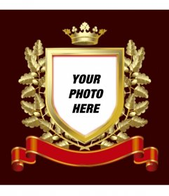 Golden shield photoframe with golden leaves around and a crown on top. It also has a red tie where you can write text