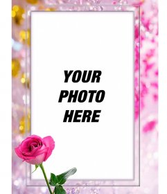 Photo frame with a rose in which you can put your photo surrounded by beautiful pearls and diamonds