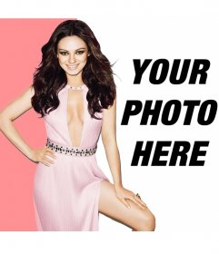Mila Kunis montage wearing a pink dress, very elegant