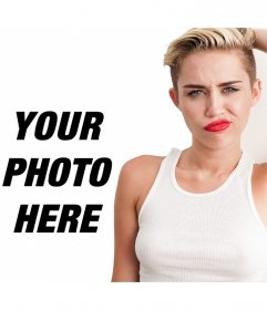 Pose up with Miley Cyrus in Wrecking Ball with red lips