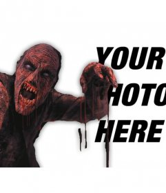 Photomontage to put a red bloody zombie in a photo and add text online