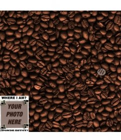 Game: find the face in the coffee beans. Add a photo to hide it