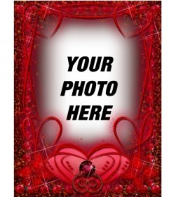 Photo frame with ruby red hearts and strokes.