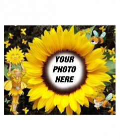Photo frame in the form of sunflower