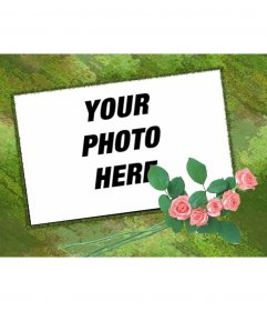 Customizable photo frame with green background and roses trim