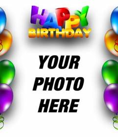 Birthday card with balloons border and text Happy Birthday in colored letters.