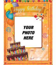 Birthday card with orange background and funny drawings to be customized birthday card with orange background and funny drawings to be customized online bookmarktalkfo Choice Image