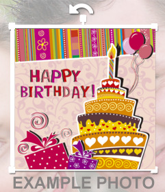 Sticker to congratulate a birthday with the image of a cake at a party that you can embed in your photos. With text HAPPY BIRTHDAY, a cake with a candle and ornaments drawn birthday.
