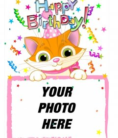 Photo frame which include a photograph, which will subject a cat drawn. Designed for use greeting card birthday
