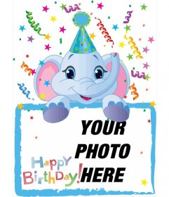 Birthday card in which will include a photograph held by a blue elephant. Fund party.