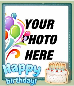 Birthday greeting card personalized with a photo. Add a frame photo effect and a happy birthday in blue. Decorate a digital photograph or wish a happy birthday with this card either by email or printed.