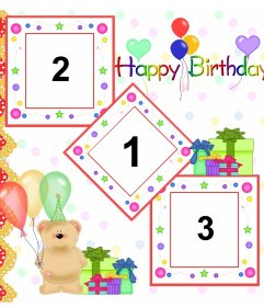 Postcard / birthday card for 3 photos with balloons and teddy bear gifts