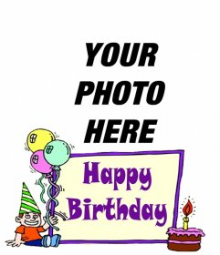 Birthday card for a child to put a picture background.