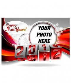 Happy New Year Greeting 2012 with turning numbers into the new year and bottom of