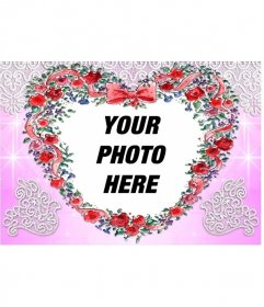 Photo frame made with roses, heart shaped and pink background