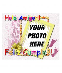 Birthday card charging with colored text Hello Friend Happy Birthday. Ideal for kids birthday congratulations