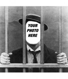 Photo montage man in jail, to put your photo. Black and white.