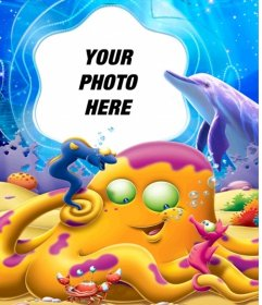 Your picture in the bottom of a sea full of animal pictures underwater