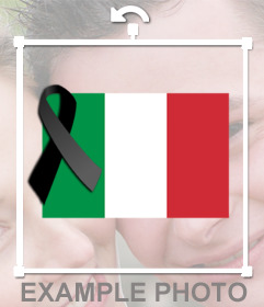 Italy flag with black mourning ribbon to paste in your photos