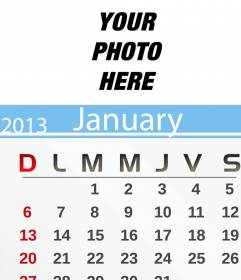June 2013 Calendar personalized with your photo and print