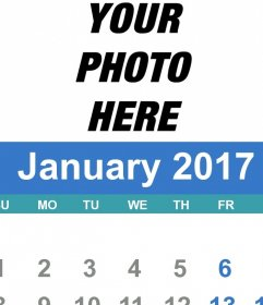 2017 January calendar who you can customize with your own photo